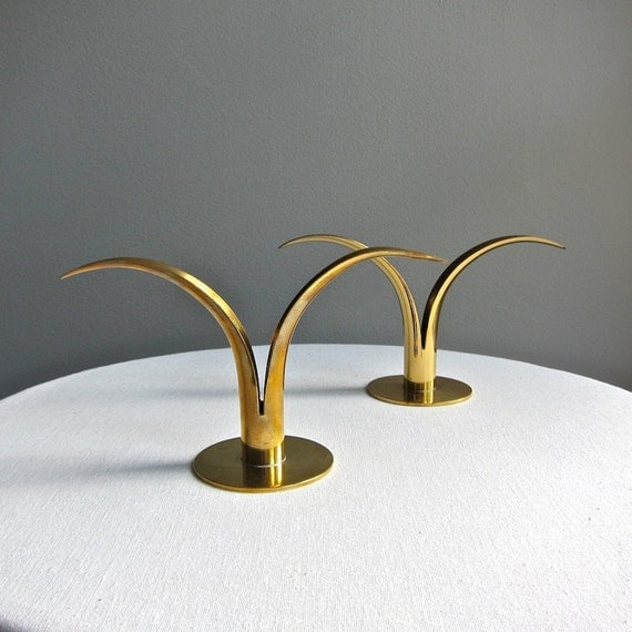 Swedish Modern Brass Candlesticks by Ystad Metall Sweden - Ivar Alenius Bjork