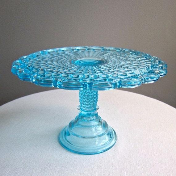 Victorian Blue Glass Cake Stand Thousand Eye Pattern Adams 1870s EAPG