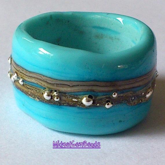 DreadLock  Sleeve Bead - Turquoise - BHB - Handmade Lampwork - SRA - FHFteam y3