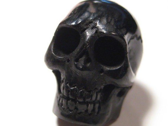 carved  Water Buffalo Horn Skull   bead  ... Fully Carved .............. 18 x 17 x 14  mm .......    mn1502