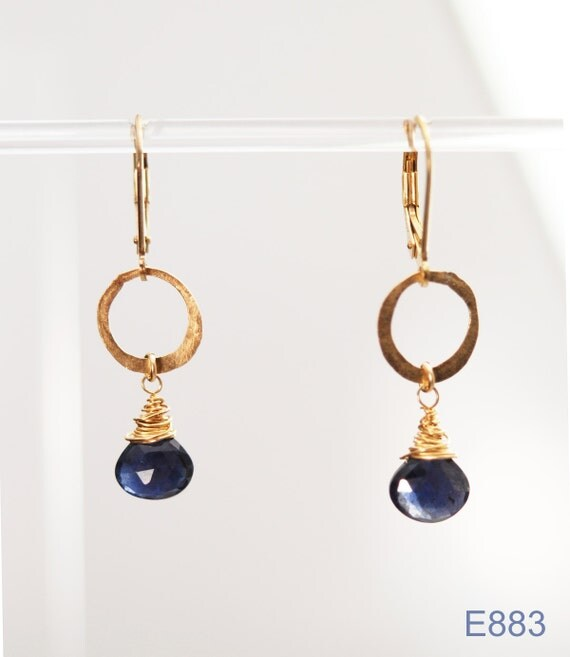 Clear Direction earrings (Iolite, Hand-Hammered 14K Gold fill)
