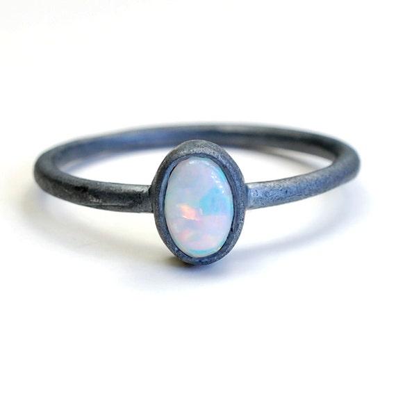 R E S E R V E D  for  R O S S Opal Ring, Opal and Silver Ring, Black Silver Ring, Oxidized Silver Ring, OOAK, Nixin