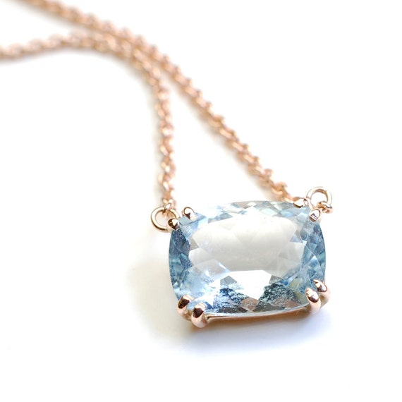 Aquamarine Necklace, Cushion Cut Aquamarine, Aquamarine and Gold, Rose Gold Necklace, OOAK, Nixin