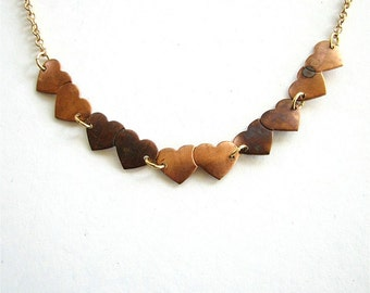 whole lotta love necklace - vintage hearts on gold Valentine's Day