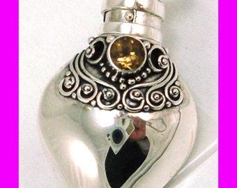 November Citrine birthstone Sterling silver Heart Locket Prayer Box bottle Pendant with PR8