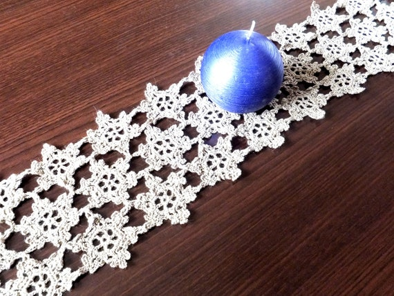 CIJ SALE -30% OFF Crocheted table runner, handmade home decor, Christmas snowflakes, linen