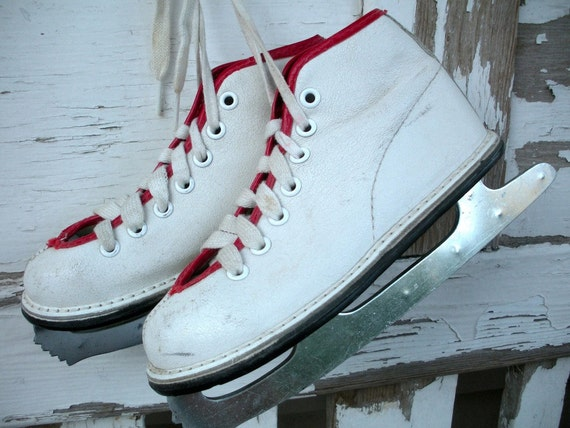 Adorable Vintage Child Ice Skates - White Little Girls with Red Trim