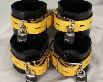 Yellow and Black Leather Cuffs