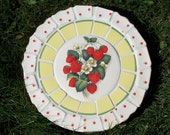 Strawberries Vintage China Mosaic Stepping Stone