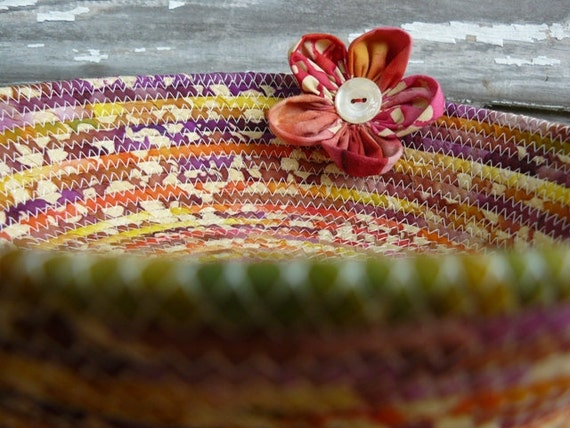 Tropical Fabric Coiled Basket Bowl with a Button Flower