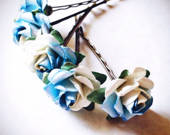 Something Blue Rose, Bridal Hair Accessories, Bohemian Wedding Hair Flower, Blue Hair Flower, Bobby Pins - Set of 5