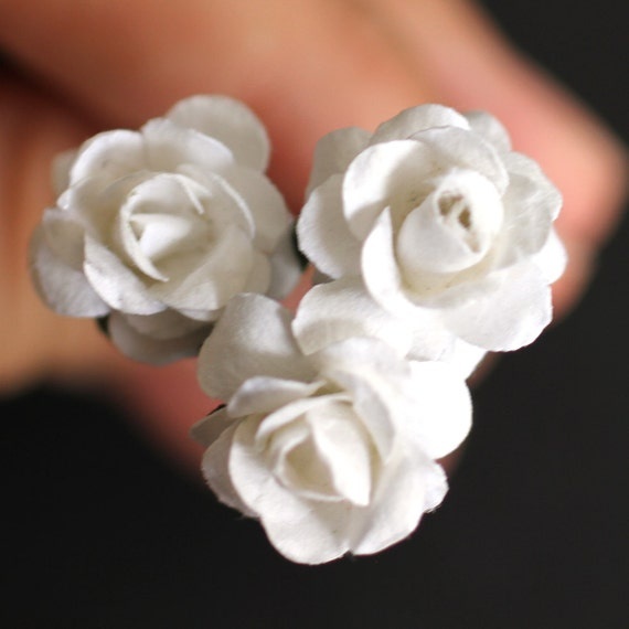 White Rose, Bridal Hair Accessories, Wedding Hair Accessories, White Hair Flower, Brass Bobby Pin - Set of 3