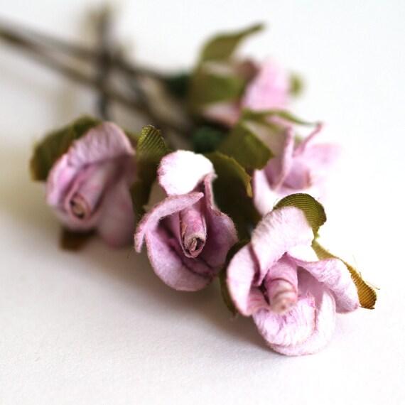 FairyTale Dream, Bridal Hair Accessories, Bohemian Wedding Hair Flower, Sweet Lilac Flower Brass Bobby Pins - Set of 5