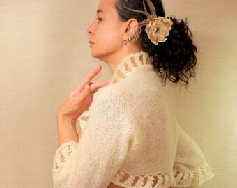 Ivory Crochet Shrug, Knit Bolero, Bridal Shrug, Crochet Bolero, Wedding Bride  3/4 Sleeve Bolero Jacket XS-S-M Satin Swarovski Flower