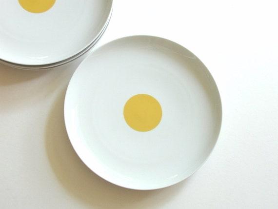 Rosenthal Dinner Plates Yellow Dot on White x 4 Mid Century Mod Panton