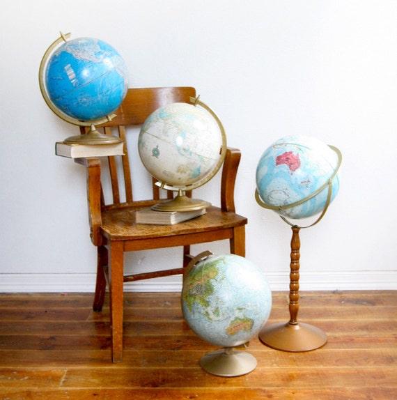 Set of 4 Vintage Globes - Instant Collection