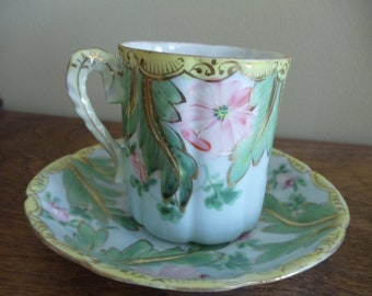 Antique Handpainted Porcelain Cup and Saucer //185