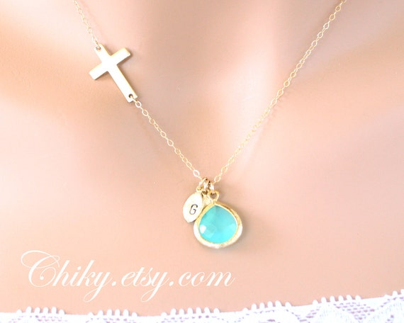 Sideways Gold Cross necklace  14K, with customized initial leaf and Aqua stone in bezel,  horizontal cross necklace, perfect Christmas gifts