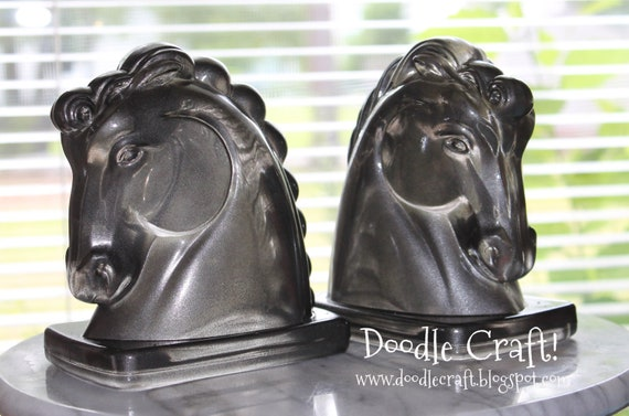 Pair of Horsehead Rook Chess piece Bookends Book ends gunmetal silver glass horse bust