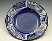 Decorative Royal Blue Ceramic Dish Sgraffito Design