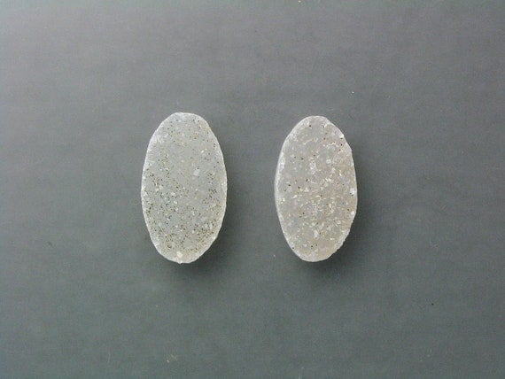 Reserved - Natural Drusy Cabochon Pair