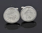 Cufflinks for Men -French cufflinks - Genuine old french franc coins - 100% satisfaction