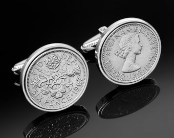 Old English sixpence- England Cufflinks-Handmade Cufflinks