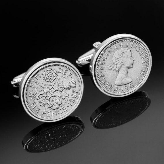 English wedding gift for men- Handmade Cufflinks-Old English sixpence- Genuine coins.England sixpence coins-rare wedding gift.