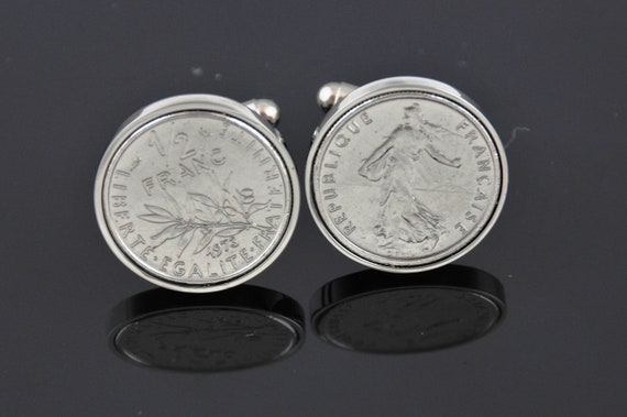 Cufflinks for Men -French cufflinks- Genuine old french franc coins-Handpolish- Perfect gift