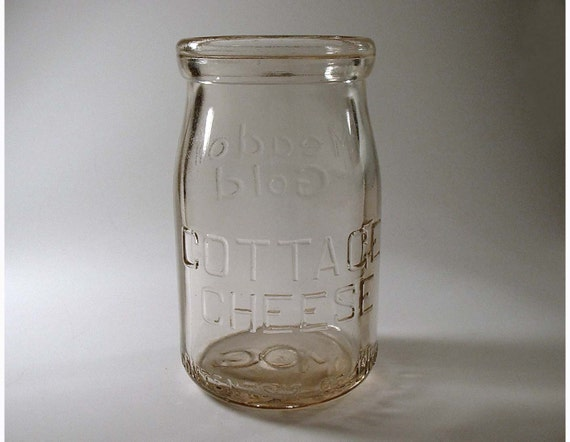 Vintage Glass Jar for Cottage Cheese - SALE Circa 1940