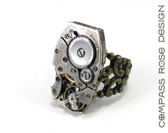 STEAMPUNK Ring Square Clockwork Watch Ruby 15 Jewel Movement Goering Watch Co. Brass Adjustable Ring
