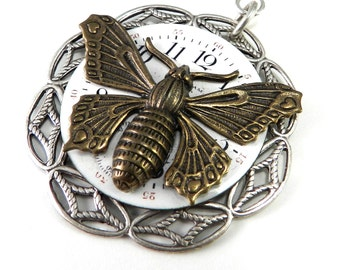 Steampunk Necklace, SALE  Clockwork Butterfly Watch Face Teardrop Steampunk Necklace, Steampunk Jewelry by Compass Rose Design