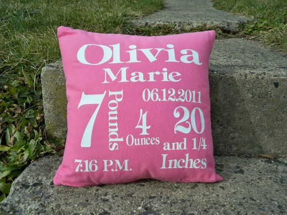 Pillow, Birth Announcement Pink Pillow  (includes insert)