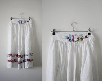 White Pants M L, Wide Leg Palazzo Pants, Summer Pants, Beach Resort Cropped Cotton Pants, White Culottes M Large