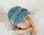 Newborn Newsboy Hat, Crochet Newsboy Cap, Baby Boy Hat, Baby Photo Prop, Any Color