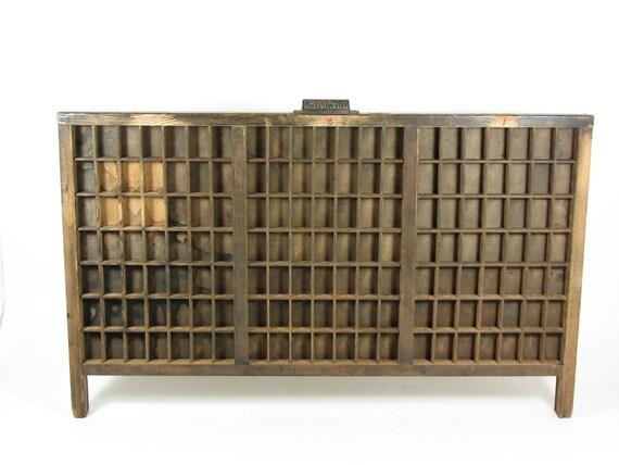 Vintage Wood Printer Drawer Wooden Letterpress Tray Shadow Box Display Case Linotype Leadset