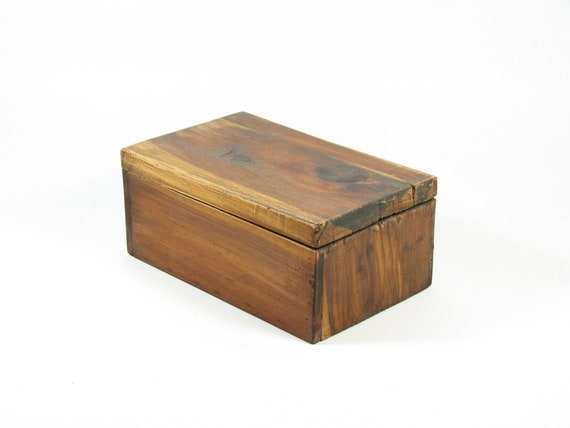 Vintage Wood Cedar Box with Hinged Lid Wooden Jewelry Box