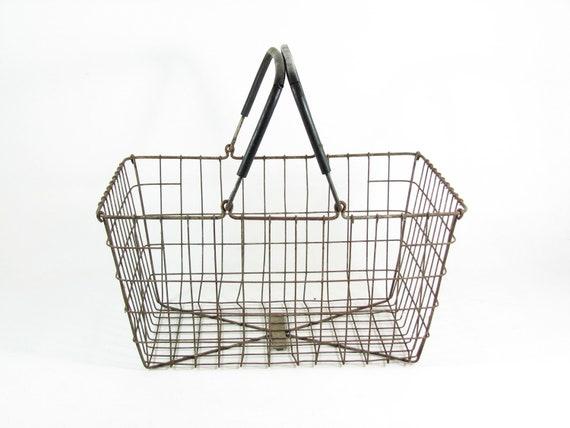 Vintage Metal Wire Basket with Coated Handles