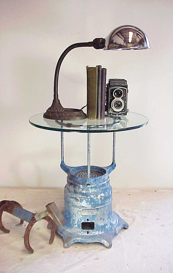 Upcycled Vintage Industrial Chippy Blue Retired Vacuume Table