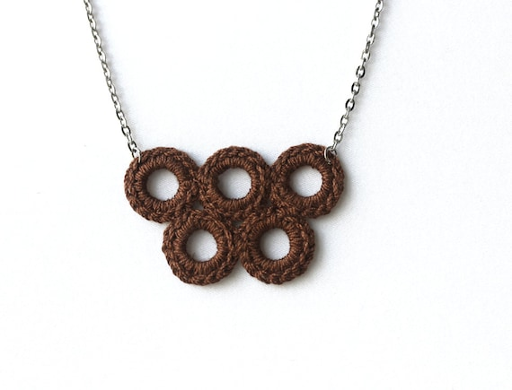 Crochet  jewelry brown necklace  fall autumn