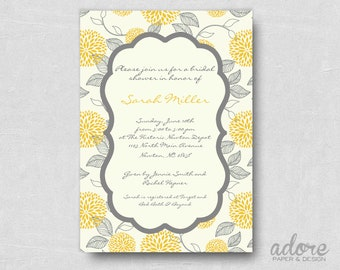 Printable Yellow & Grey Flower Bridal or Baby Shower Invitation - Choose your colors