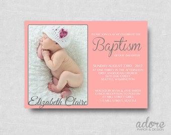 Modern Coral Pink & Gray Printable Baptism Invitation
