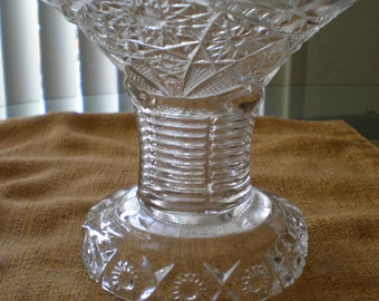 Punch Bowl Pedestal EAPG Paneled Daisy & Fine Cut 123 Indiana Glass Antique-Makes Great Candle Stand Too