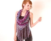 Layered textured cowl with fringes - made to order