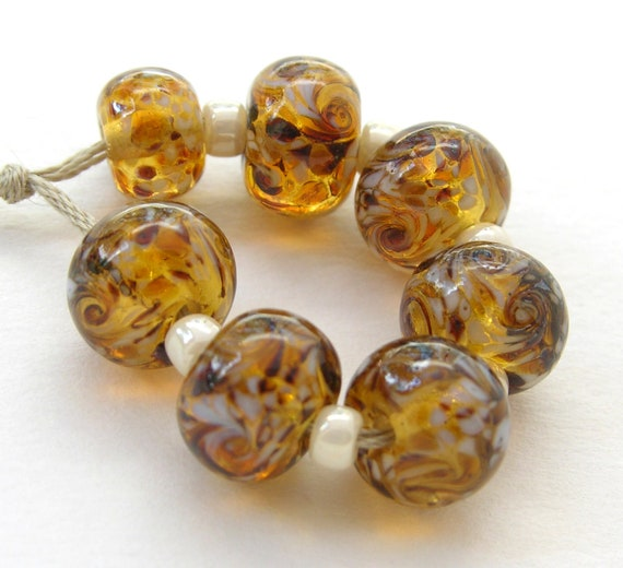 Amber and White Lampwork Glass Beads - Bracelet & Toggle set