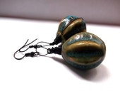 Azure's Ceramic Blue and Green Brown Fall Earthy Tone Wire Wrapped Dangling Earrings