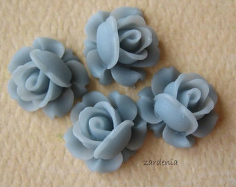 4PCS - Mini Cabbage Rose Flower Cabochons - 12mm - Resin - Slate - Findings by ZARDENIA