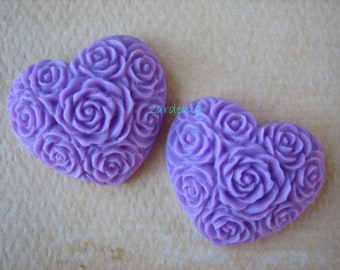 2PCS - Heart Flower Cabochons - Resin - Lavender - 19x21mm - Cabochons by ZARDENIA