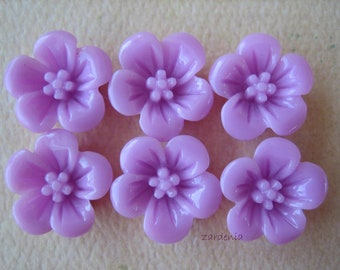 6PCS - Violet Flower Cabochons - 13mm - Resin - Lavender - Findings by ZARDENIA