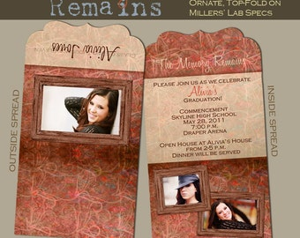 The Memory Remains Senior Graduation Folded LUXE Announcement No. 4- custom photo templates for photographers on Millers Lab specs